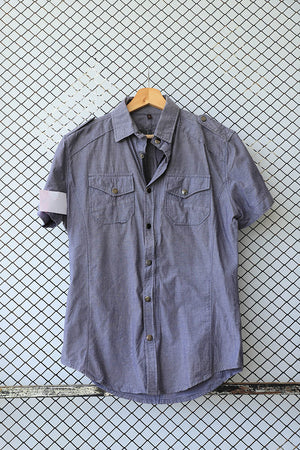 Grey Military Style Short Sleeved Blouse