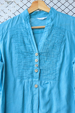 Turquoise Blue Pin Tuck Blouse (Brand: Promod)