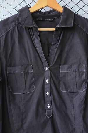 Black With White Stitching Button Down (Brand: Zara Basic)