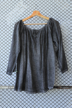 Grey Stonewash Denim Look Summer Cotton Tunic