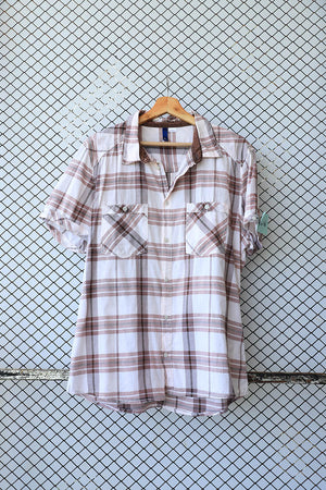 Earthy Toned Checkered Short Sleeve Blouse