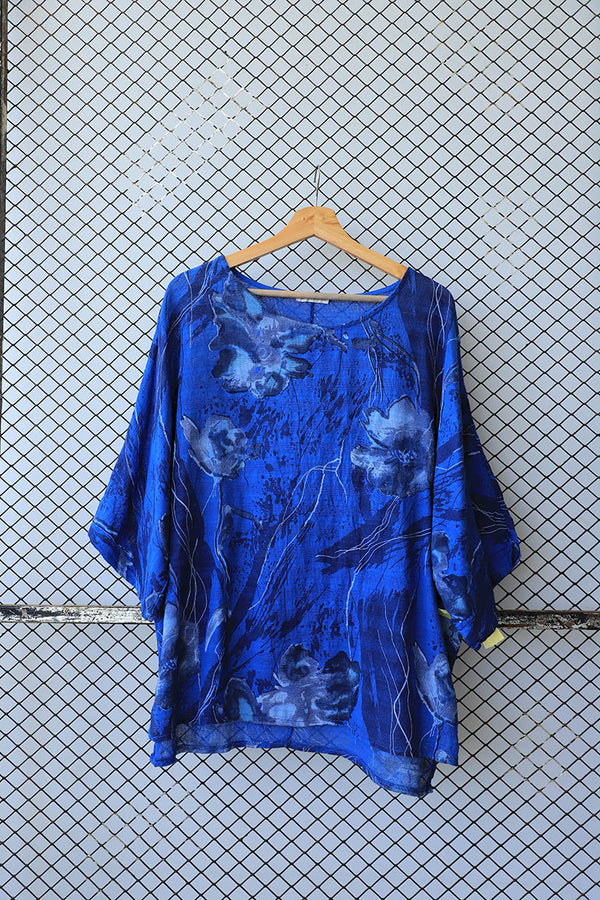 Blue Hand Painted Style Fashion Top