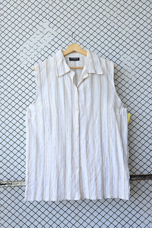 Cream and Brown Striped Sleeveless Top (Brand: Veti Style)