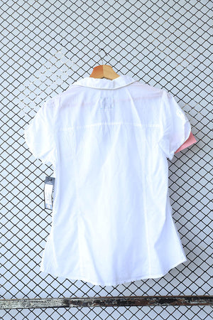 White Short Sleeved Cotton Blouse
