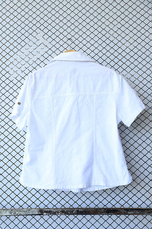White Grunge Metallic Button Blouse (Blanc Du Nil)