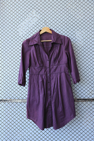 Purple Pin Tuck Cotton Dress Shirt