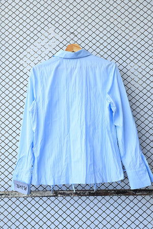 Aqua Blue Cotton Ruffle Fringe Shirt