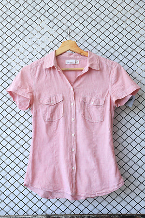 Pink Grunge Pocket Short Sleeved Blouse