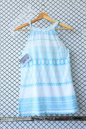 Light Summer Aqua and White Halter Top (Brand: Promod)