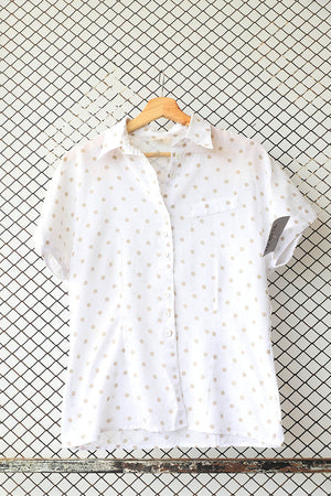 Polka Dotted Linen Summer Blouse