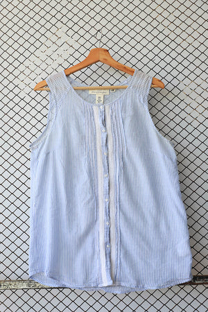 Blue Sleeveless With White Trimmings Sleeveless Blouse (Brand: H &M)
