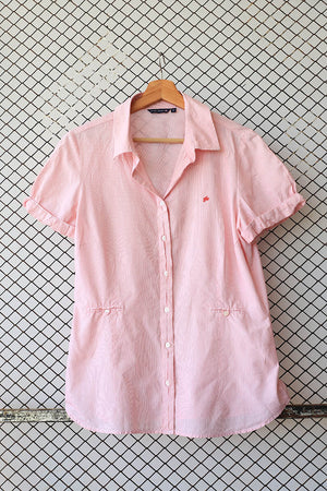 Pink Embroidered Logo Summer Blouse