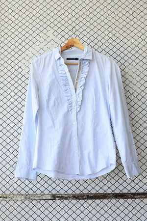 Blue Ruffled Striped Summer Button Down (Brand: River Woods)