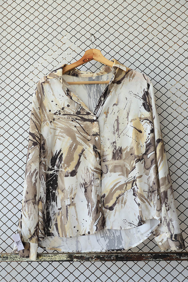 Water Colour Earthy Shades Painted Button Down