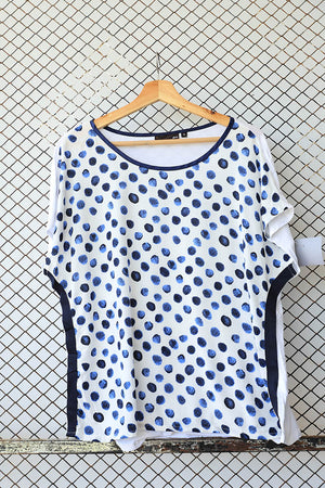 Blue and White Paint Splatter Print Fashion Blouse