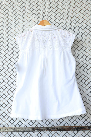 White Cutwork Shoulder Boho Cotton Sleeveless Blouse (Brand: Hampton Bays)