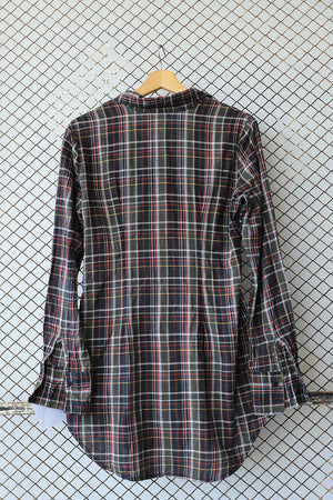 Grey and Black Checkered Ruffled Button Down (Brand: Calliope)