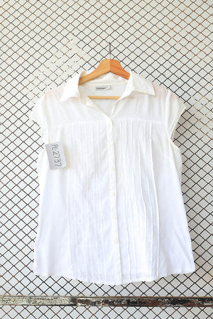 White Pin Tuck Detail Cotton Blouse