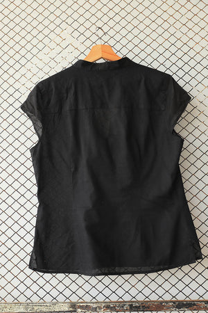 Black Pin Tuck Summer Blouse (Brand: H &M)