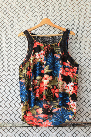 Jungle and Lace Back Print Fashion Top