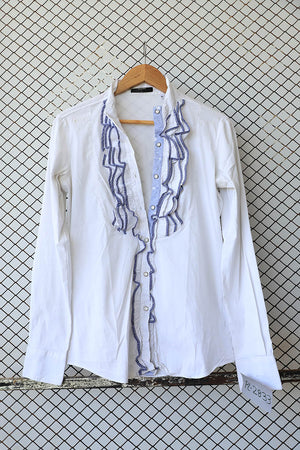 White and Blue Ruffled Cotton Detail Blouse (Brand: Aglini)
