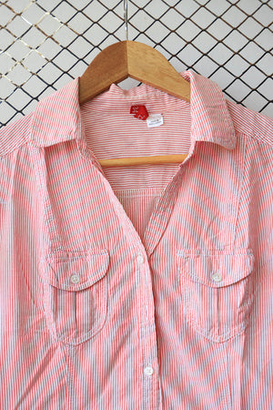 Red and White Candy Striped Military Pocket Shirt