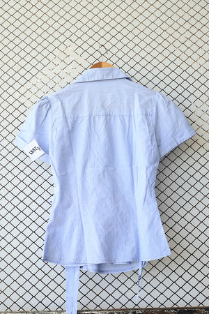 Blue Wrap Tie Summer Blouse