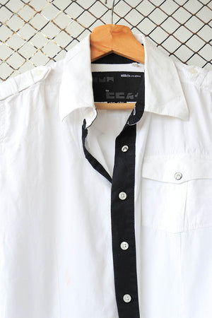 Black and White Monochrome Summer Button Down