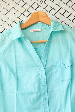 Aqua Blue Summer Button Down