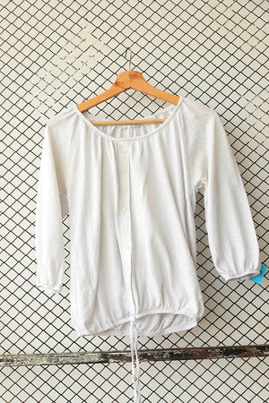 Ash White Draw String Waist Summer Blouse