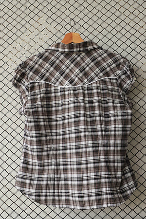 Checkered Shirt With White Piping