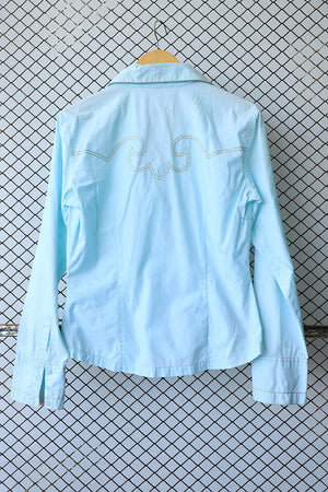 Aqua Blue Denim Style Stitching Blouse