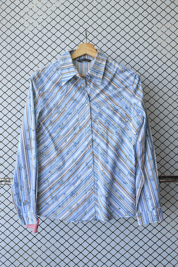 Blue Striped and Rosette Print Summer Button Down