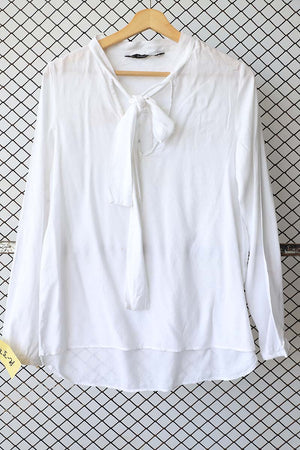 White Tie Front Summer Blouse