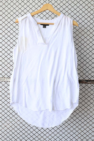 White Sleeveless Summer Blouse