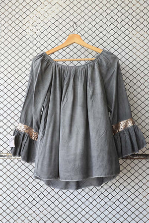 Stonewash Look Grey and Gold Bling Sleeve Detail Blouse