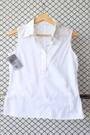 White Cotton Sleeveless Detail Blouse