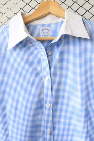 Checkered Blue and White Collared Shirt