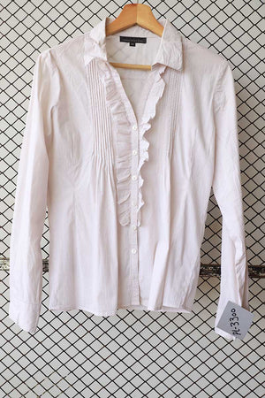 Beige Pin Tuck Ruffled Blouse