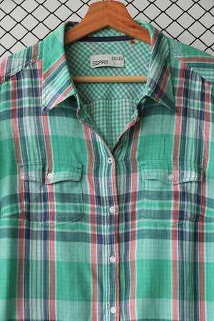 Grass Green Checkered Button Down