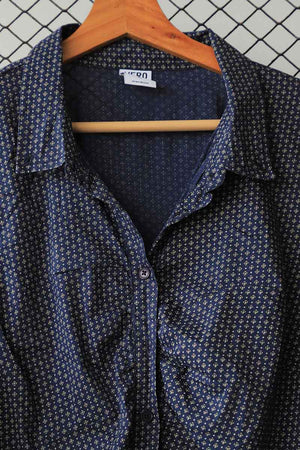 Ruched Classic Patterned Button Down