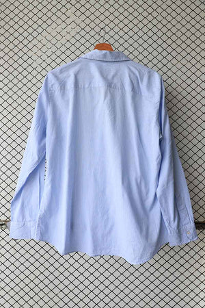 Blue Cotton Ruffled Button Down