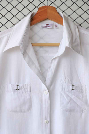 White Buckle Detail Summer Button Down