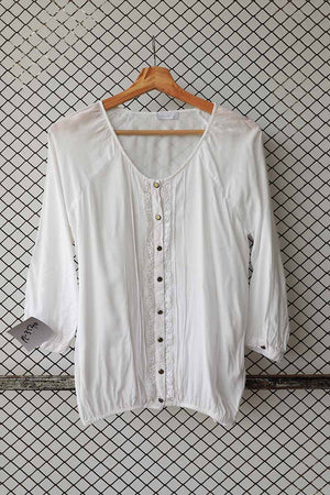 White Linen Shirt with Pin Tuck and Lace Details