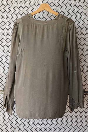 Olive Green V Neck Slouch Fit Top (Brand: Black Rose)