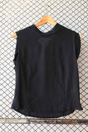 Black Collar Neck Ruffle Sleeveless Blouse (Brand: Promod)