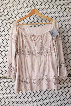 Tea Pink Bohemian Summer Blouse