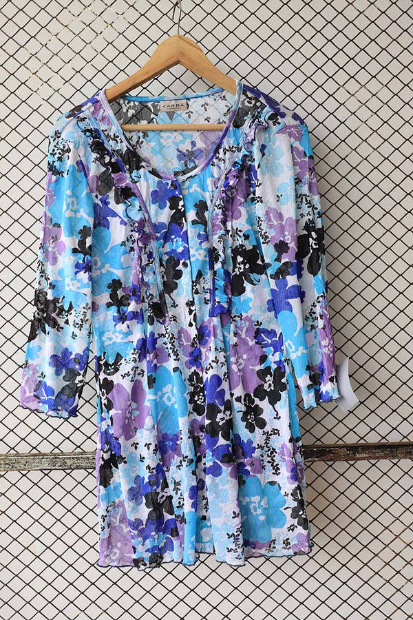 Floral Ruffle Shades of Blue Tunic