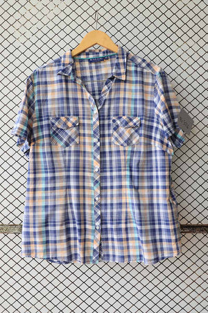 Retro Technicolor Checkered Button Down