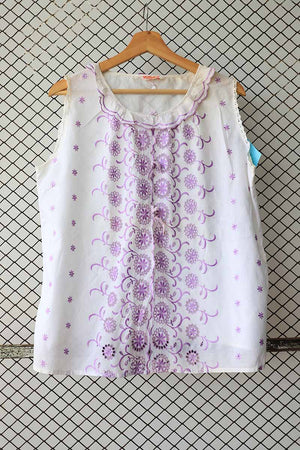 Purple and White Bohemian Embroidered Blouse (Brand: Bellanett)